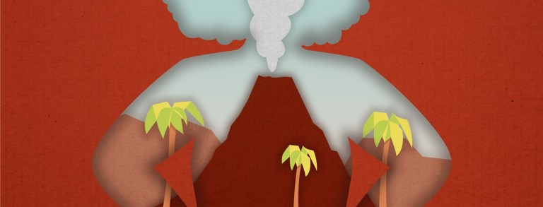 A volcano erupting in the silhouette of a woman