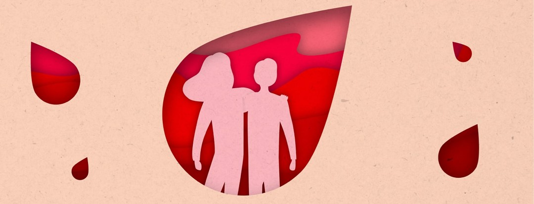 friends hugging in the silhouette of a blood droplet