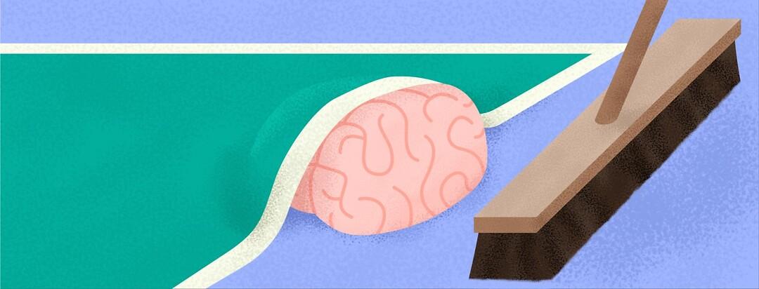 a brain being swept under a rug