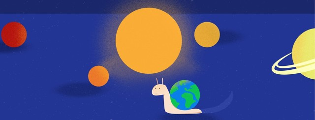 a snail with the earth on its back going around the sun