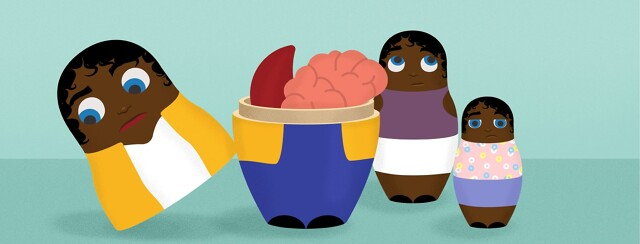 nesting dolls with a sickle cell and a brain inside the doll