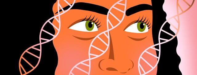 A woman looks at DNA strands passing over her face