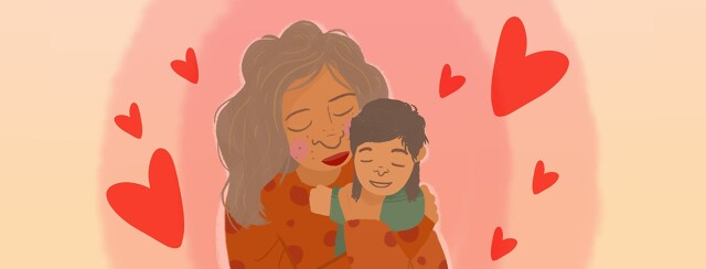 a mother and a child hugging with hearts around them