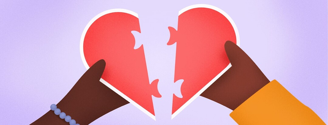 two people putting their halves of a heart together like a puzzle