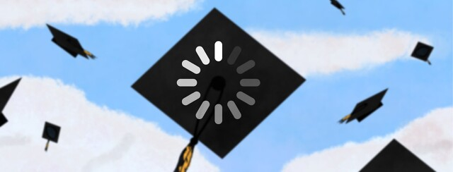 graduation caps in the air loading