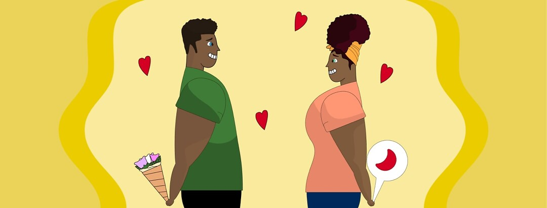 a man and a woman on a date, he is holding flowers and she is holding a sickle cell conversation