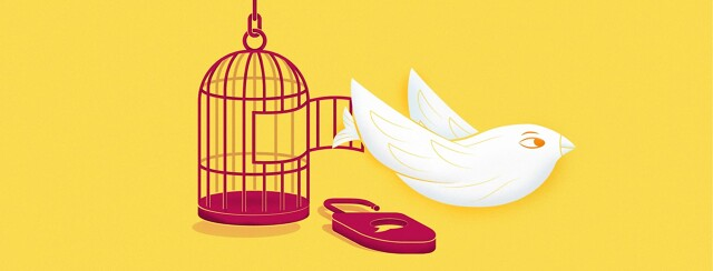 a bird flying out of a cage with a lock on the ground and a speech bubble keyhole