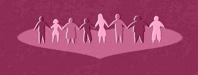 people standing together holding hands on a heart