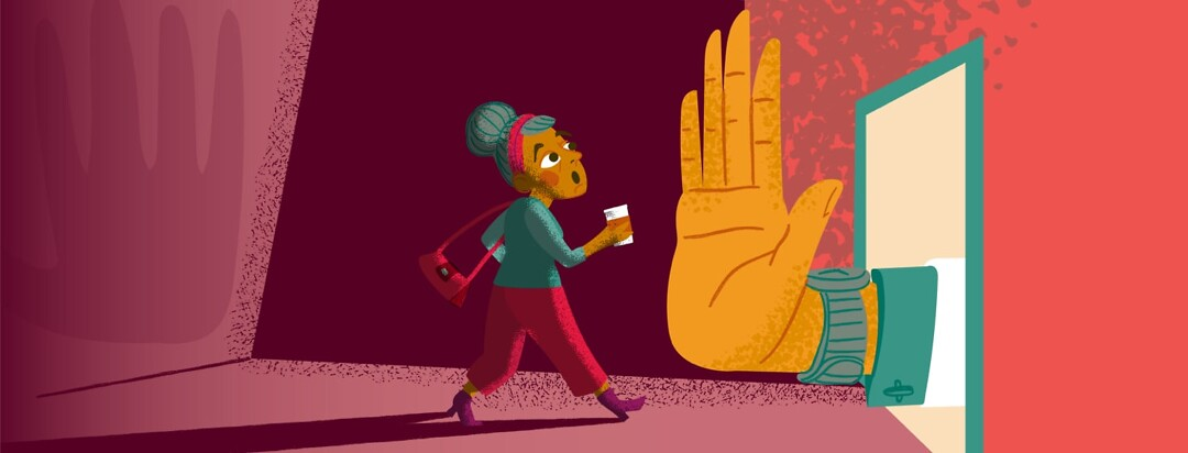 a woman being blocked by a big hand from entering the work space
