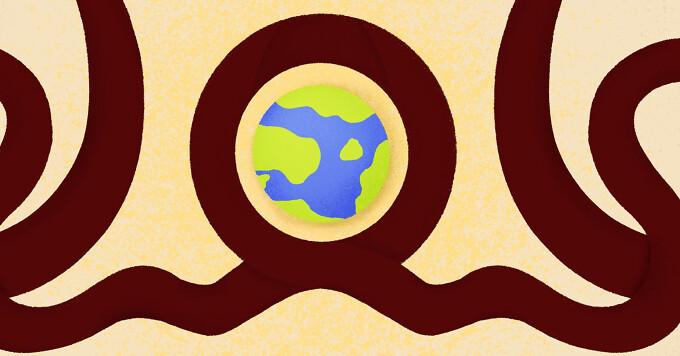 An awareness ribbon circling a globe