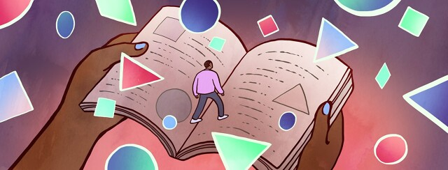 A man walking on a book surrounded by floating shapes
