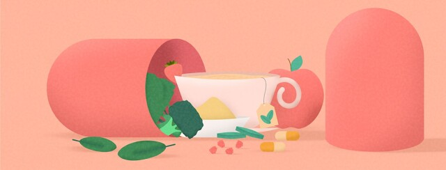 a pill open with tea, fruit, veggies and vitamins pouring out
