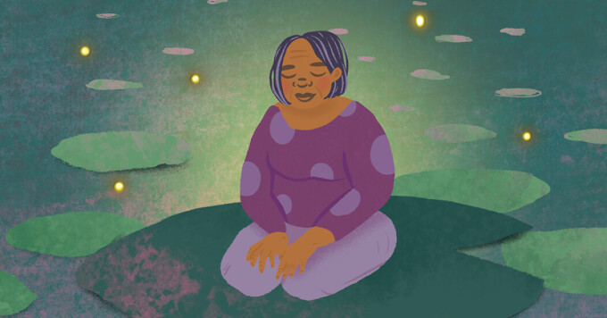 woman with closed eyes sits on lily pad with fireflies lightning bugs surrounding her meditation