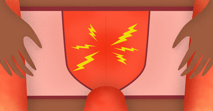 a man in underwear with lightning bolts pointing at the crotch