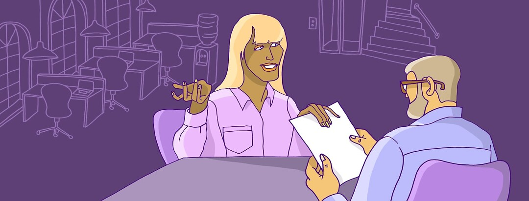 a woman on an interview handing over her resume